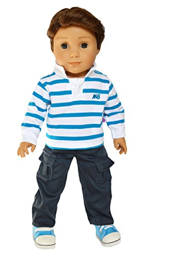 Brittany's My Blue Striped Shirt and Pants Compatible with American Girl Boy Dolls-18 Inch Doll Clothes (Logan Doll is not Included) (Brittany Doll)