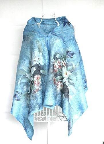 - Blue Floral Pashmina, Merino Wool Shawl, Nuno Felt Wrap, Large Shawl with Flowers, Handmade Cape