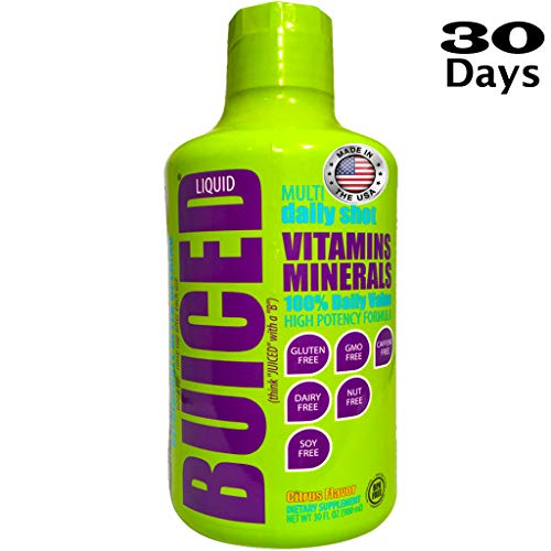 BUICED Liquid Daily Multivitamin | Gluten Free | GMO Free | Allergen Free | Soy Free | BPA Free | Paleo Friendly Multivitamin | Vegan Friendly Multivitamin | 100% Daily Value | Made in The USA
