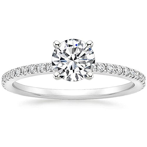 1 Ct Halo Solitaire Cubic Zirconia Promise Engagement Ring 925 Sterling Silver Ring Size 8 (Ct 1)