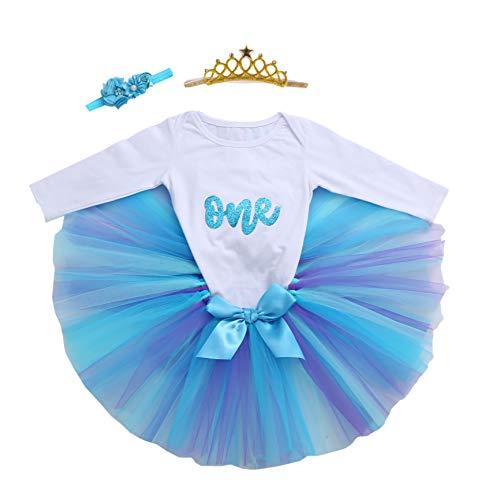 Baby Girls 1st Birthday Bling One Romper Tutu Skirt Flower Crown Headband (Sky01, 9-12Months) ()