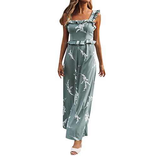 Women Ladies Fashion Sexy Print Sleeveless Loose Long Jumpsuit&ANJUNIE(Green,L)