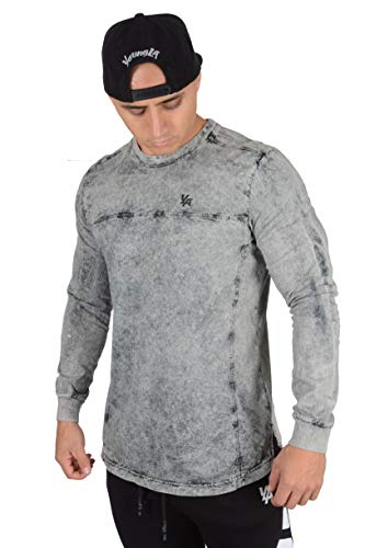 YoungLA Men's Long Sleeve Pullover T-Shirt Soft Cotton 416 Grey Washed Small