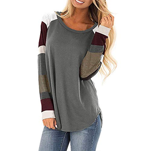 Byyong Women's Pullover Sweatshirt Casual Color BlockStripe Long Sleeve Comfort Tops Loose Tunic, Hot Sale! ()