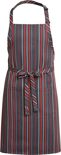 Chef Works Mens Striped Bib Apron, Grey, Charcoal And Red Stripe, 34-Inch Length by 24-Inch (Stripe Chefs Apron)