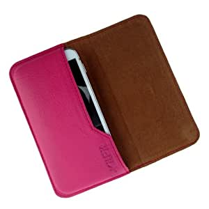 i-KitPit : Genuine Leather Flip Pouch Case Cover For Micromax Canvas 3 A115 (PINK)