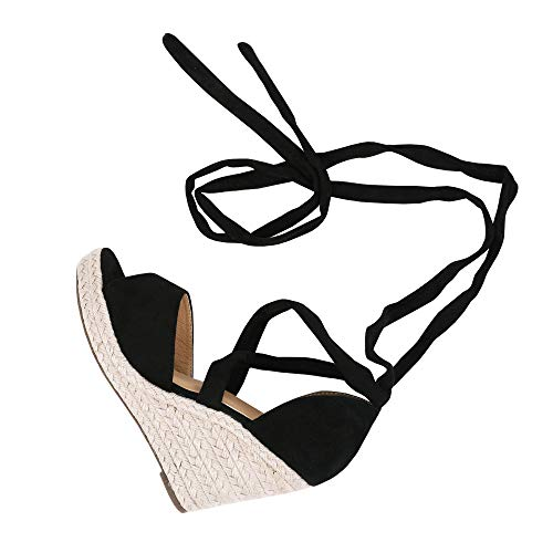Huiyuzhi Womens Lace Up Wedge Espadrille Sandals Peep Toe Criss Cross D'Orsay Dress Sandals Black ()