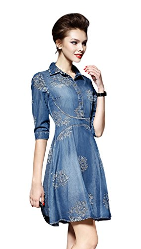 526422efa Seacolor Women s Casual Denim Dress Button Down Short Sleeve Blue Casual  Dress