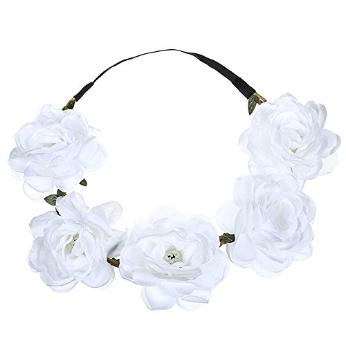 UROSA Boho Ladies Floral Flower Festival Wedding Garland Hair Head Band Beach Party Headwear White