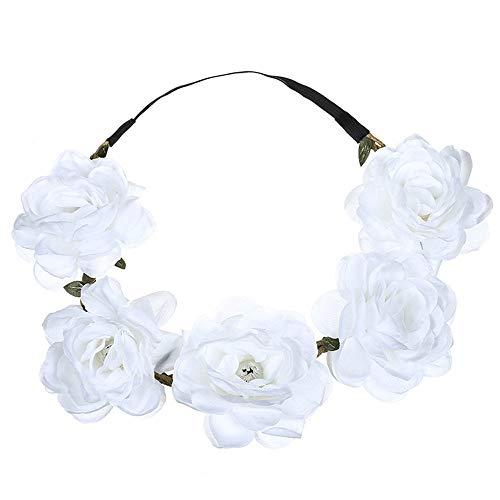 UROSA Boho Ladies Floral Flower Festival Wedding Garland Hair Head Band Beach Party Headwear White ()