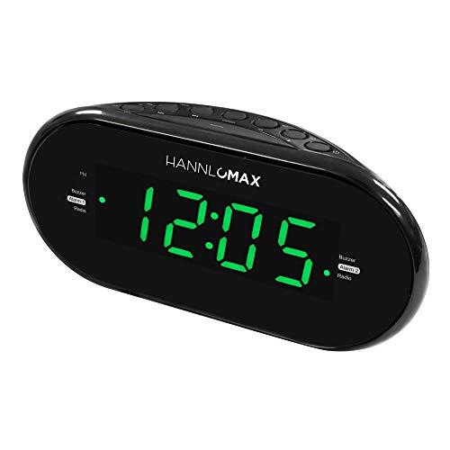 Hannlomax HX-123CR Alarm Clock Radio, PLL AM/FM Radio, 1.2 inches Green LED Display, Dual Alarm