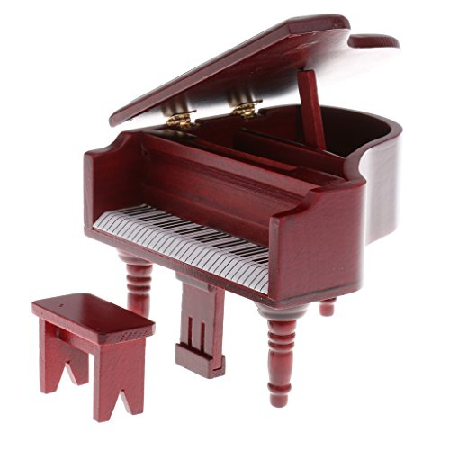 Homyl Rosewood Birch Wood Grand Piano with Stool Set for 1/12 Dollhouse Miniature
