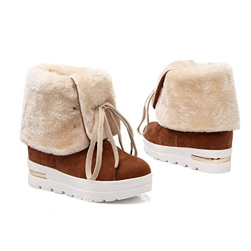AgooLar Women's Imitated Suede Kitten Heels Round Closed Toe Solid Lace up Boots Brown LJKkue