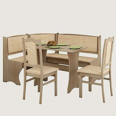 Awe Inspiring Furniture Agency Breakfast Nook 4 Piece Set Multiple Finishes Corner Bench Dining Table And 2 Side Chairs Sonoma Oak Monaco Inzonedesignstudio Interior Chair Design Inzonedesignstudiocom