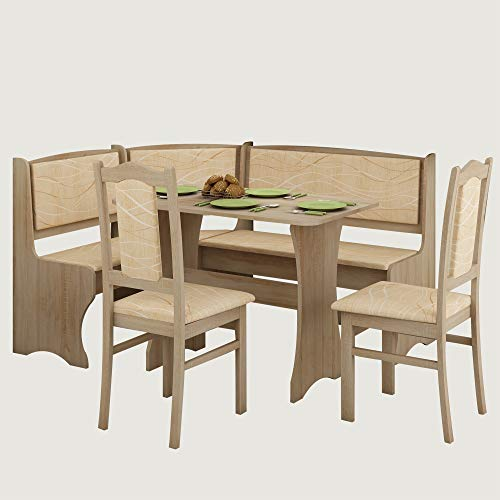 (Furniture.Agency Breakfast Nook 4-Piece Set Multiple Finishes Corner Bench, Dining Table and 2 Side Chairs Sonoma Oak/Monaco)