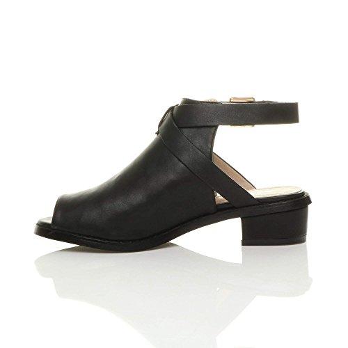 Damen Kleiner Blockabsatz Peep Toe Fesselriemen Stiefel Schuhe Sandalen Größe Schwarz Matt