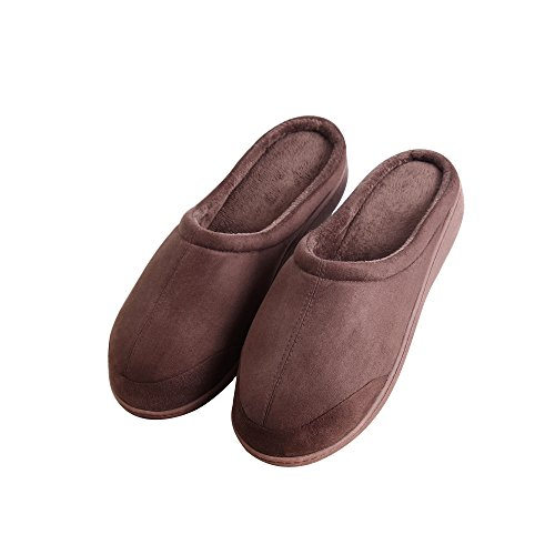 Richie House Mens Slippers with Plush lining for Sizes S-XXL RHSM024 Dark Brown