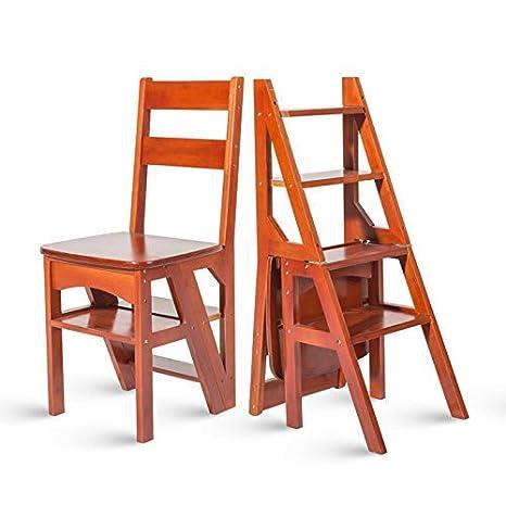 LZY Inicio Taburetes de escalera Plegable de madera 4 ...