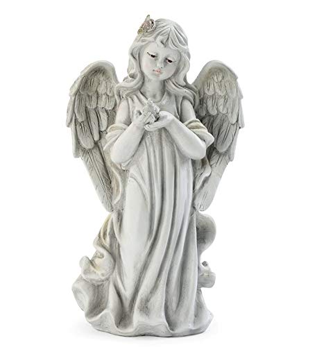 Napco Angel with Bird Classic White 12 inch Resin Stone Collectible Figurine ()