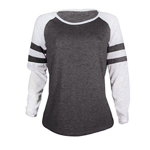 c5c847a22494f iDWZA Women Ladies Long Sleeve Splice Blouse Tops Clothes T Shirt ...