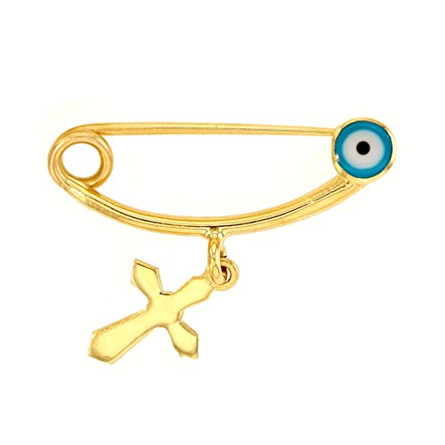 Solid 14k Yellow Gold Blue Evil Eye Brooch Safety Pin with Religious Cross Charm 14k Yellow Gold Safety Pin