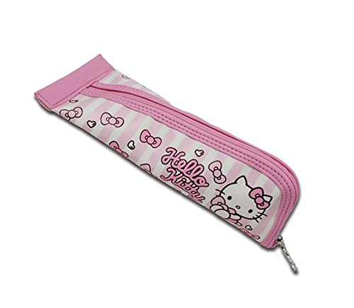 Pink Hello Kitty Triangular Canvas Pencil Pen Case for School Supplies Storage and Organization by Saniro