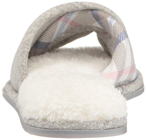 Dearfoams Womens Casual Knit Twist Vamp Scuff Slipper Light Grijs Gespikkeld