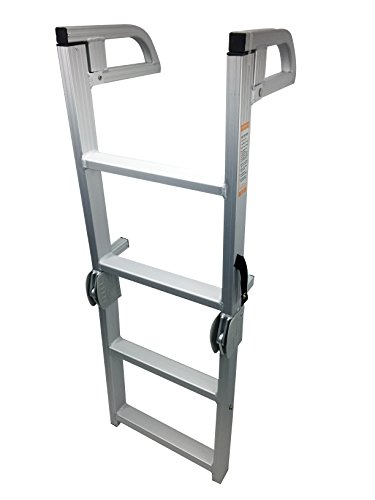 Pactrade Marine Pontoon Boat Folding Boarding 4-step Ladder Aluminum by Pactrade Marine