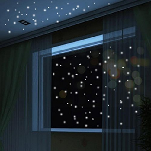 (Slendima 104Pcs Glow in The Dark Ceiling Dots Wall Stickers Luminous Art Decals for Kids)