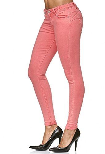 D2223 Effetto Donna Forma Pantaloni Skinny Su Denim Corallo Rosa Spingere Treggings wqq8Tgx7p
