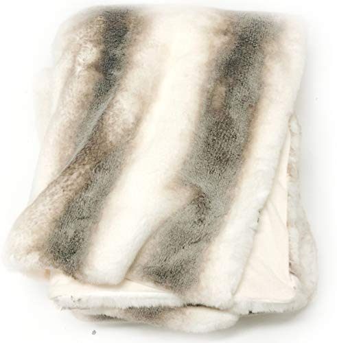 Luxury Faux Fur Oversized Throw Blanket with Plush Velvet Reverse, Fox Lynx or Gray Mink (Taupe/Striped) ()