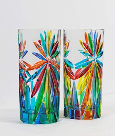 Murano Tall Drinking Glasses with 'Starburst' Pattern Set of 2 - Quality Handmade Italian Glass