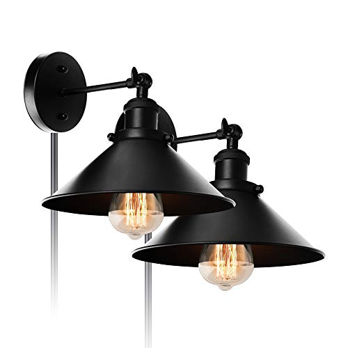 ALLTRUST Premium Retro Industrial Edison Simplicity Metal Plug in Wall Sconce Light Fixture Upgrade Black Finish Shade Vintage Wall Lamp E26 Base(2 Packs) - Type Coach