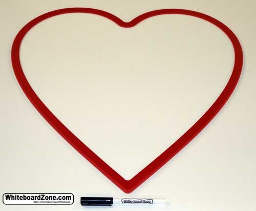 Heart Shaped Dry Erase White Board -Large