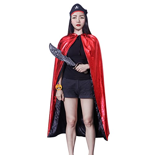 NUOLUX Unisex Halloween Cosplay Costume Toys Set:Witch Cloak Wizard Hooded Robe Cloak,Pumpkin Bracelet,Pirate Knife,Headwear