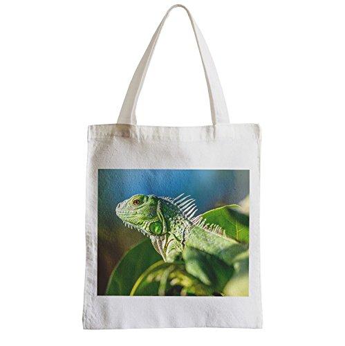 Große Tasche Sack Einkaufsbummel Strand Schüler Grüner Leguan auf dem Zweig