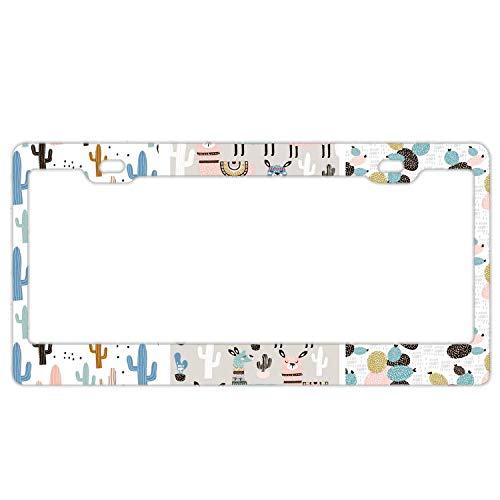 Llama Cute Tribal Collection Metal License Plate Frame Screw Caps Tag ()