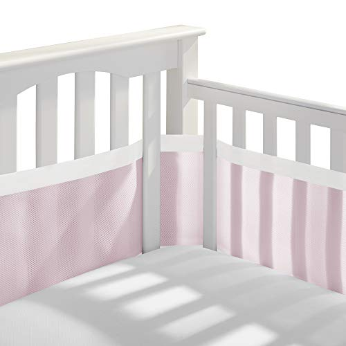 BreathableBaby | Deluxe Breathable Mesh Crib Liner | Doctor Endorsed, Pink W/White Muslin Trim