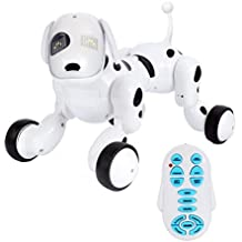 Kids robot - PLRB IR Smart Remote Control Robot Dog, Funny Electronic Interactive Puppy robots for kids, Nice Educational RC robots dog Toys in door, Black/White