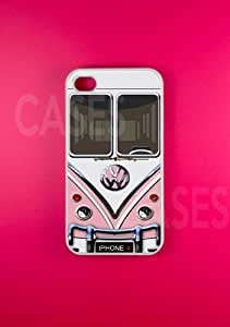 Ipod Touch 4 Case, Volkswagen VW Pink Minibus Kawaii Case For Ipod Touch 4 Cover, Cute protec...