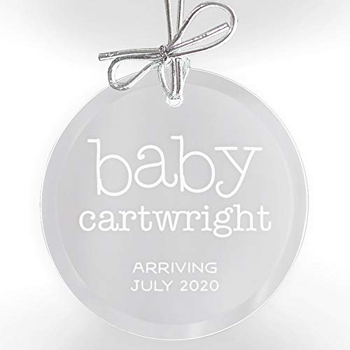 Lifetime Creations Personalized Pregnancy Announcement Ornament: Engraved Glass Expecting Baby Ornament, Baby on The Way Ornament (Christmas Ornaments Expectant Mother)
