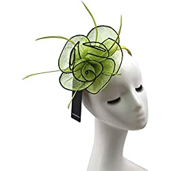 High-Fashion Elegent Women Sinamay Feather Net Fascinator Headband Clip Head Piece for Tea Party Racing Debery Church Wedding Special Occasions (Lemon Green)