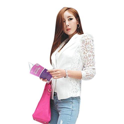 Blackobe Women's Long Sleeve Open Front One Button Lace Crochet Small Blazer Jacket (M, White)