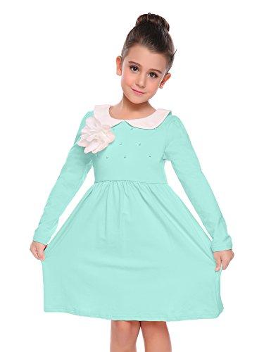 Arshiner Little Girls Long Sleeve Dress Skater Flower Beads Peter Pan Collar Dress by Arshiner