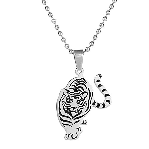 Two Color Prowling Tiger Stainless Steel Pendant for Men with Chain By Urban Male Jewellery
