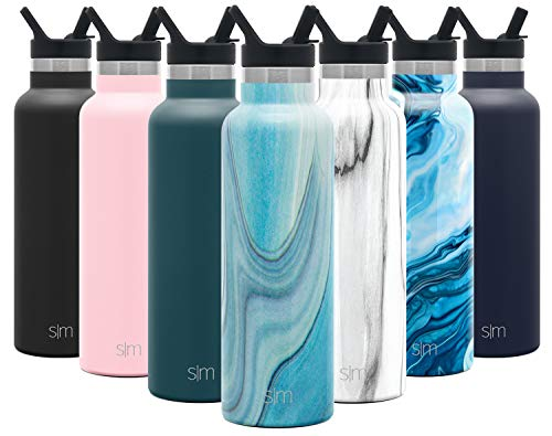 Simple Modern 20oz Ascent Water Bottle with Straw Lid - Stainless Steel Hydro Tumbler Flask - Double Wall Vacuum Insulated Small Reusable Metal Leakproof Pattern: Ocean Quartz