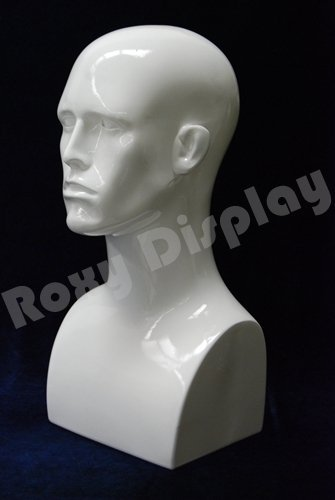 (PS-ERAW-PS) 17'' Tall Male Mannequin Head Durable Plastic (WHITE)