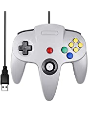 Classic N64 Controller, iNNEXT N64 Wired USB PC Game pad Joystick, N64 Bit USB Wired Game Stick Joy pad Controller for Windows PC MAC Linux Raspberry Pi 3 Genesis Higan (Gray)