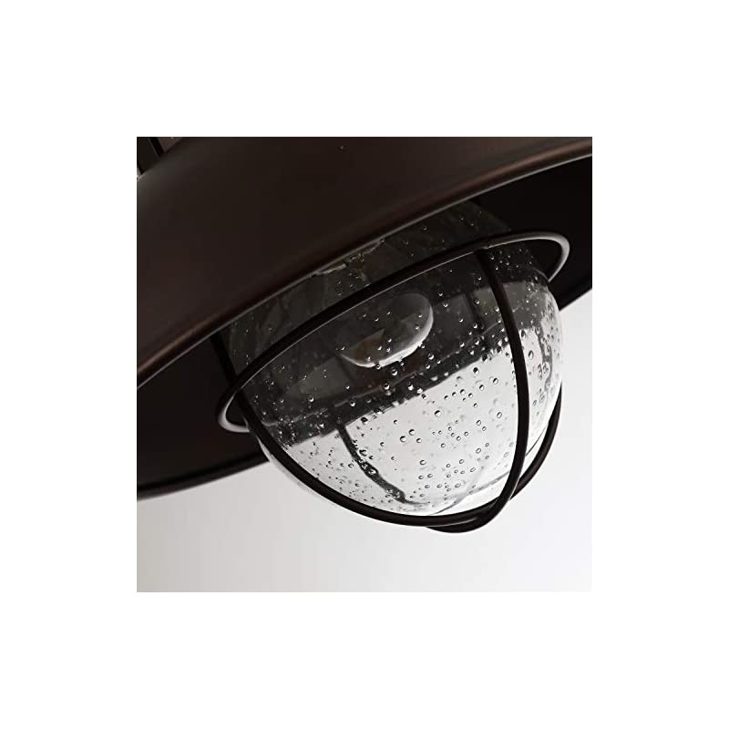 Farmhouse Flush Mount Ceiling Light Fixture,Oil Rubbed Bronze,Metal Cage Seeded Glass,CE101M