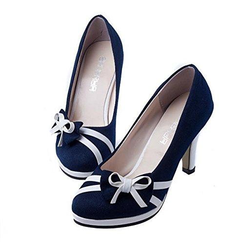 ligera fashion redonda pequeña Tacones Altos para el Heel Tacones blue mujer de ElegantesCabeza Tacones Mujer y Clásicas Shoes Sexy Ruanlei de Altos Cerrado Charol alto pXZT6nZ0x